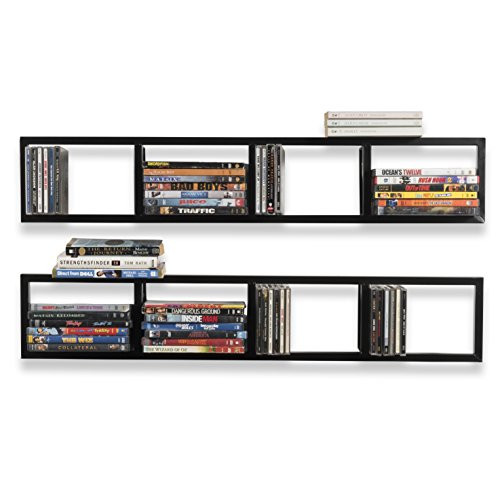 Wall Mount 34 Inch Media Storage Rack CD DVD Organizer Metal Floating Shelf Set of 2 Black