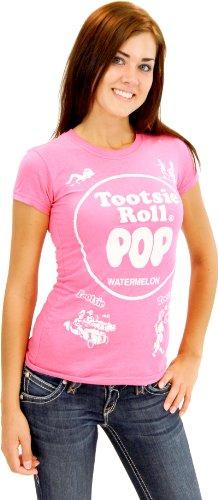 Tootsie Roll Pop Assorted Watermelon Hot Pink Costume T-shirt (Hot Pink) (Juniors X-Large) ()