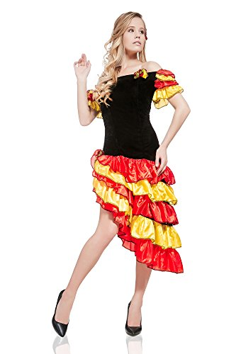 Traditional Flamenco Dance Costumes (Women's Gypsy Esmeralda Spanish Flamenco Dancer Hot Senorita Latina Girl Dress Up & Role Play Halloween Costume (One Size - Fits All))