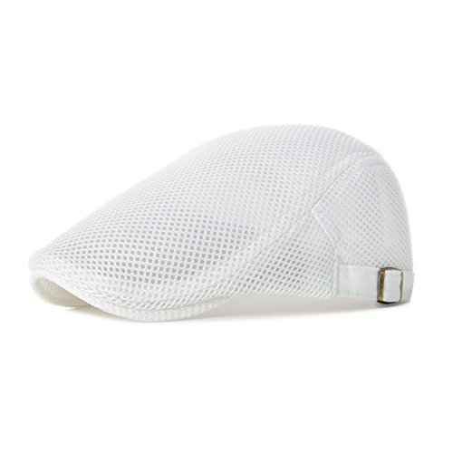 VOBOOM Men Breathable mesh Summer hat Adjustable Newsboy Beret Ivy Cap Cabbie Flat Cap MZ124 (White)