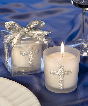 Communion Candle Favors - Silver Cross Themed Candle Favors - 23 count