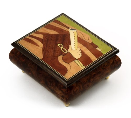 Handmade Italian Musical Jewelry Box with Graduation Theme Inlay - Torna A Sorrento (Return to Sorrento) Sorrento Italian Inlay