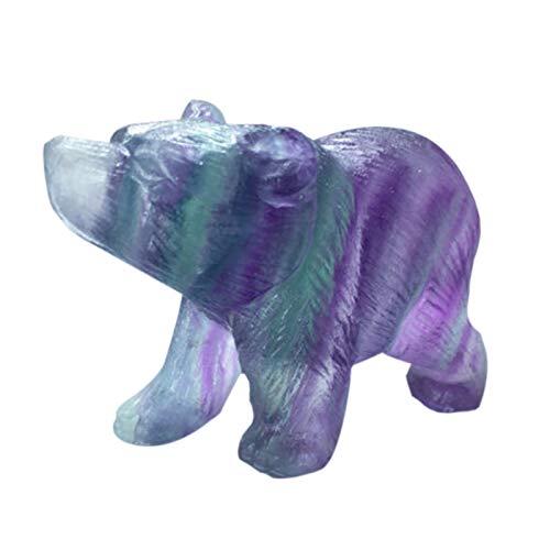 SODIAL Crystal Simulation Polar Bear Crafts Ornaments Jade Colorful Fluorite Carved Animal Scrub (Ornament Craft Polar Bear)