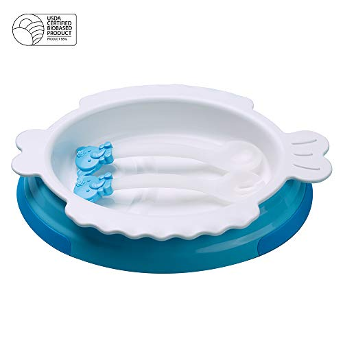 (Kukumim Baby Feeding Bowl Spoon Fork Set - Corn Based PLA Eco Friendly BPA BPS Free USDA Certified - 3 Pieces Set & Bonus Tyvek Bag - Great Baby Gift Set, Blue)