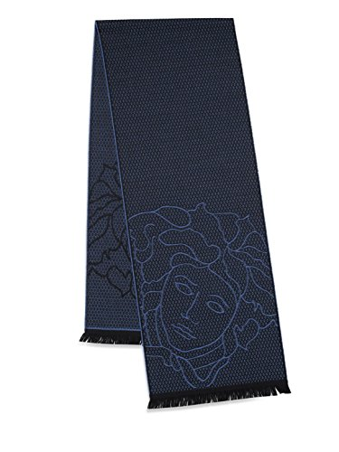 Versace Men's Wool Scarf -Evil Eye With Medusa Head (OS, Navy) by Versace