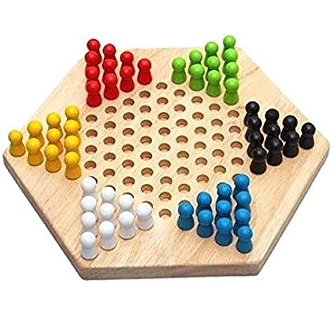 Juegos de mesa de 1 pieza Juego de juego familiar de damas chinas de madera hexagonales tradicionales: Amazon.es: Juguetes y juegos