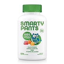 SmartyPants Gummy Vitamins Kids Fiber Complete with No Sugar Added, Multi Plus Omega 3 Vitamin D, 120 Gummies