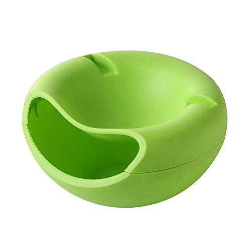 Fruit Snack Plate - Double Layer Dried Fruit Plate with Cellphone Stand Holder Snacks Dish Container Storage Box (Green)