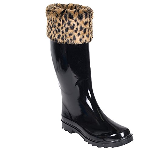 Forever Young Women's Solid Black Rubber Rain Boot with Leopard Print Cuff, 8