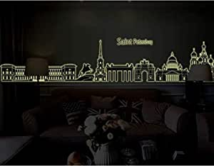 Silhouette of urban architecture 3D Wall Sticker Home Decor Luminous Wall Decal