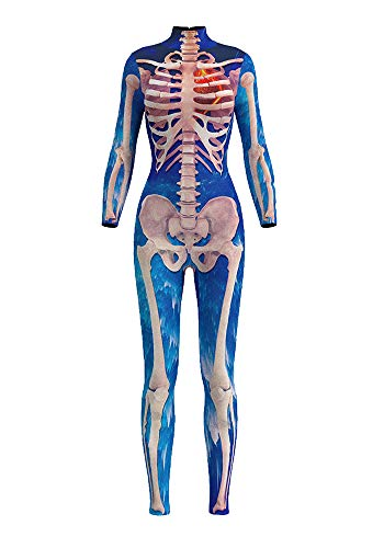 Honeystore Women's Halloween Skeleton Catsuit Costume 3D Stretch Skinny Bodysuit bds-97004 XL -