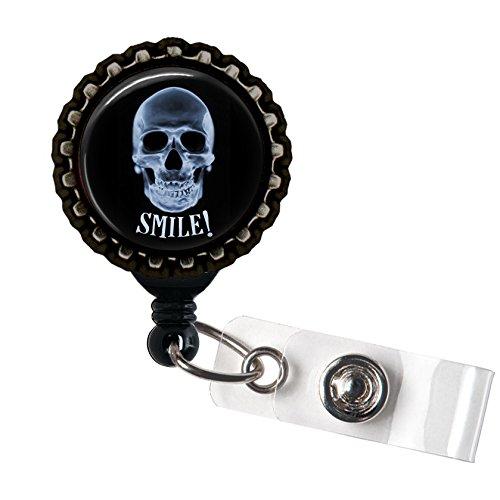 XRAY Tech Skull Smile Black Retractable ID Tag Badge Reel