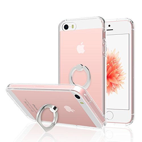 JETech Case for Apple iPhone SE 5s 5, [Ring Holder Kickstand] Cover, Shock-Absorption Bumper, HD Clear
