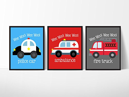 Emergency Vehicle Themed Art Prints Wall Decoration (Set of Three) Fire Truck Police Car ()