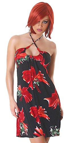 Damen Neckholder Sommer Minikleid Flora - Red - Größe 34-38 - Strandkleid