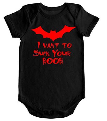 VRW I Vant to suck your boob unisex Onesie Romper Bodysuit- (12 months, Black)