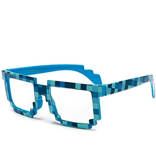 Block Glasses 8-Bit Pixel Video Gamer Geek Costume Party (Camo Blue, - Ray Glasses Bann