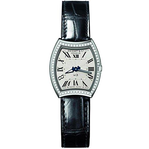 Bedat & Co Women's No.3 Diamond Black Leather Band Steel Case Quartz Silver-Tone Dial Watch 305.020.100