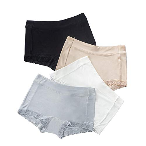 - Closecret Women's 4-Pack Comfort Soft Mid Rise Boyshorts Panties with Lace Trim (S(Waist:26-27inch), 4 Colors)