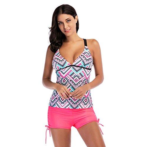 Detail Underwire (Goddessvan Women Geometric Printing Bikini Sets Swimsuits Backless Swimwear Beach Suit (L, Pink))