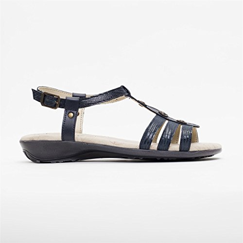 Sandal Padders 25mm Footcare Heel Women's Navy Style Roman UK E Combi Sandal Wide Leather Shoe 'Pearl' Horn Free Fit AvpAHYq