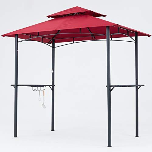 MasterCanopy Grill Gazebo 8 x 5 Double Tiered Outdoor BBQ Gazebo Canopy (Burgundy) (Gazebo Patio Walmart)