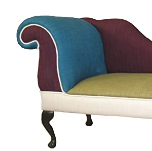 Funky chaise longue in mixed linen panels for Amazon uk chaise longue