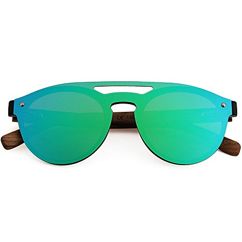 Ultra Color Gafas One Men's Playa Leg Sunglasses Frame TAC Style Conducción Verde Lens Bamboo Al Protección hombre de para ligero PC Cool libre Vacaciones aire Piece Polarized Pesca Negro sol UV rIfqr4w