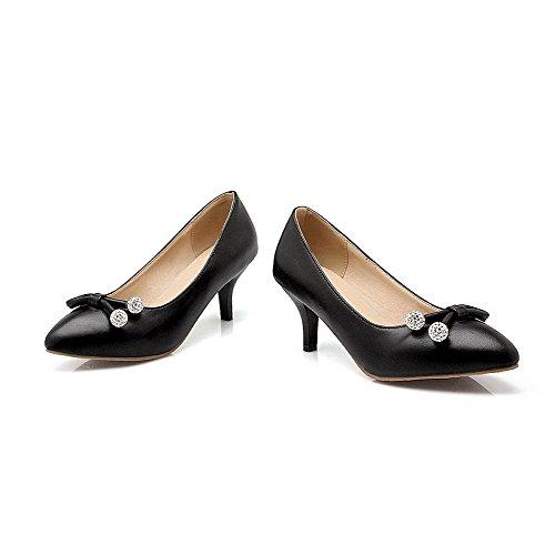 VogueZone009 Damen Ziehen auf Spitz Zehe Mittler Absatz PU Leder Rein Pumps Schuhe Schwarz