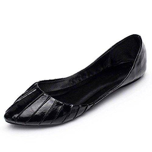 Fereshte Womens Comfy Casual Pointed-toe Flat Pumps for work Black GFaKQ