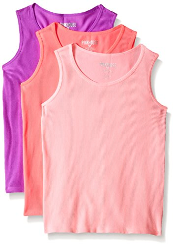 Little Girl Tank Top (Pinkhouse Pink House Little Girls' 3 Piece Rib Seamless Tank, Neon Coral/Neon Light Coral/Purple, 4-6X)
