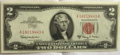 1963 Seal Note Red Series - 1963 A Series Red Seal $2 Two Dollar US Note