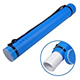 Poster Tube with Strap Plastic Expanding Poster Tube 24.5'' to 40'' with Clear ID Card Cap Transport Tube Telescoping Carrying Case for Blueprints (Blue)