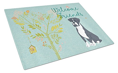 Caroline's Treasures BB7581LCB Welcome Friends Black Boxer Chopping Board, Large, (Board Boxer Cutting)