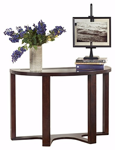 - Ashley Furniture Signature Design - Marion Sofa Table - Contemporary Style - Entertainment Console Table - Semi Circle - Dark Brown with Glass Top