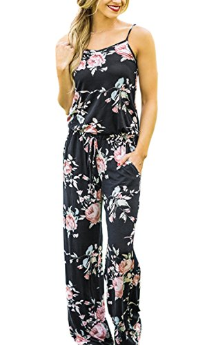 Silk Halter Jumpsuit - ECOWISH Womens Summer Floral Printed Halter Sleeveless Casual Strap Jumpsuit Black S