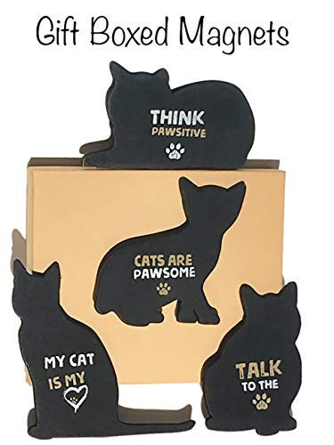 Comical Cat Magnets for the Fridge or any Metal Surface, Gift-Boxed Set of 4. Funny Sentiments that are sure to make any Cat Lover Smile