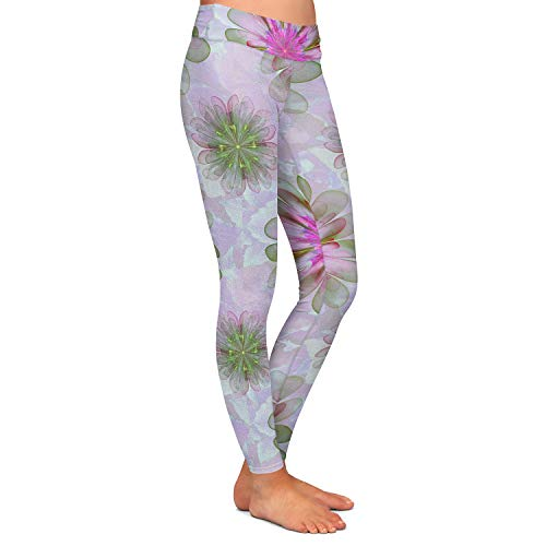 Athletic Yoga Leggings from DiaNoche Designs by Pam Amos - Abstract Flower Tile Pink Green