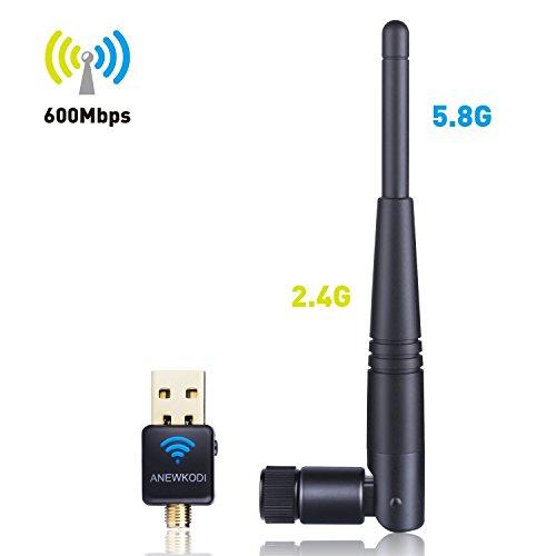 Vista Usb Stick - ANEWKODI AC600Mbps USB Wifi Adapter Wlan Stick Dual Band (5.8G/433Mbps+2.4G/150Mbps) Wireless Wi-Fi Dongles 802.11 ac/a/b/g/n for Windows 10/8/7/Vista/XP/2000/Mac OS for Desktop/Laptop/PC (3dbi)