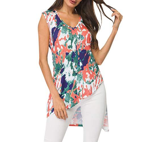 Women's Sexy Tops 2019 Fashion,YEZIJIN Women's V-Neck Print Sleeveless Color Inkjet Irregular Hem Loose Top Blouse ()