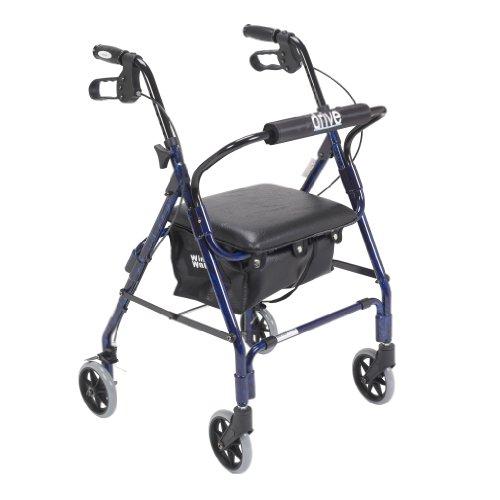 Drive Medical Mimi Lite Deluxe Aluminum Rollator, Flame Blue