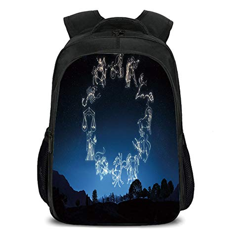 15.7'' School Backpack,Astrology,Sketchy Zodiacal Sign Dots in Ombre Night Dark Sky in Forest Art Print Decorative,Dark Blue and White,for Teenagers Girls Boys by iPrint
