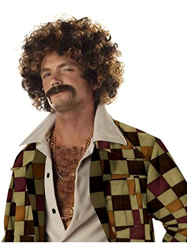 California Costumes Men's Disco Dirt Bag Wig & Moustache, Blonde/Brown,One Size