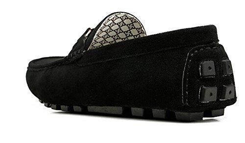 Happyshop (tm) Heren Lederen Instapper Toevallige Gesp Loafer Rijden Heren Autoschoenen Moccasins Pantoffels Zwart (gesp)