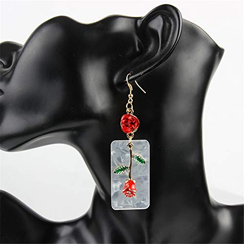 - Boho Signature Oblong Statement Acrylic Resin Earrings Drop Dangle for Women Fashion with Elegant 3D Red Rose Flower Pendant