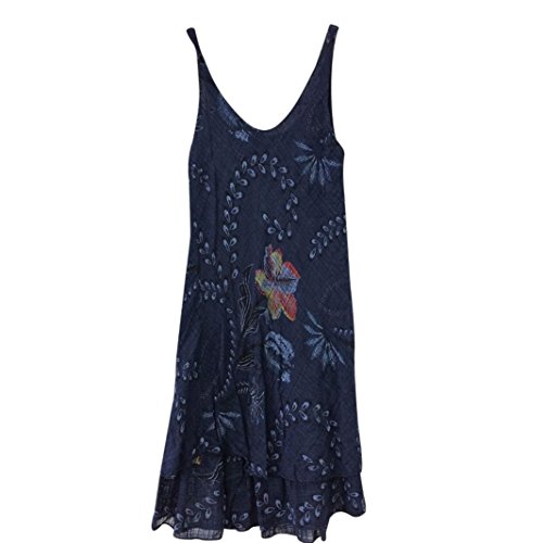 Pour Mini Vest Mounter Robe Tissus Casual Sans Tunique Printing Femme D't Fashion O Confortable cou Flowers Respirants Dim Marine Manches Robe 6EZxZqnwS