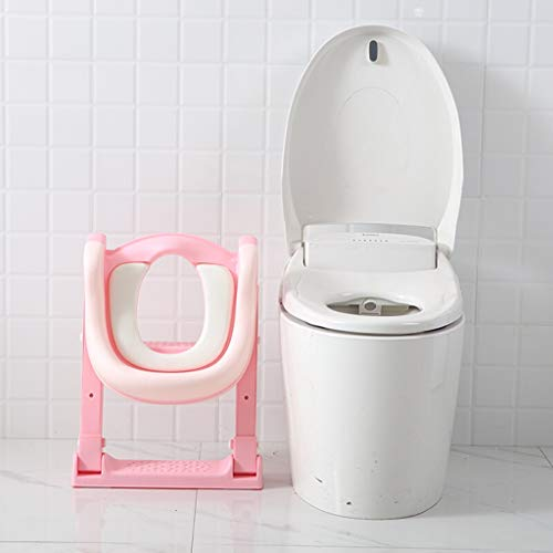 XWJC Children's Toilet Toilet Baby Toilet Seat Baby Toilet Ladder Child Toilet Seat Soft Cushion (Color : Pink) by XWJC (Image #3)