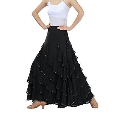 CISMARK Voguish Ballroom Dancing Latin Dance Party Skirt Black, One Size at Women's Clothing store