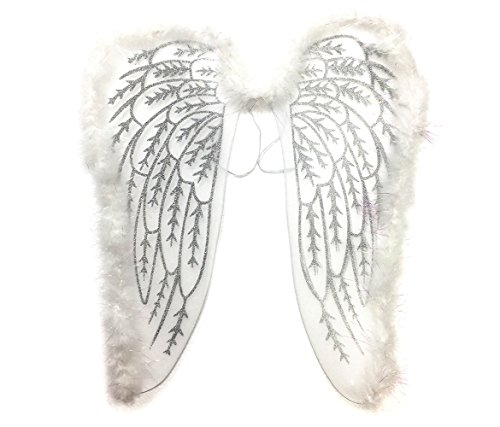 Mozlly White Fluffy Glittery Adult Elegant Angel Costume Wings - 19 x 18 inch - Dress Up Wing with Shoulder Strap for Comfortable Fit and Flexible Metal Frame That can be Bent - Item #110111
