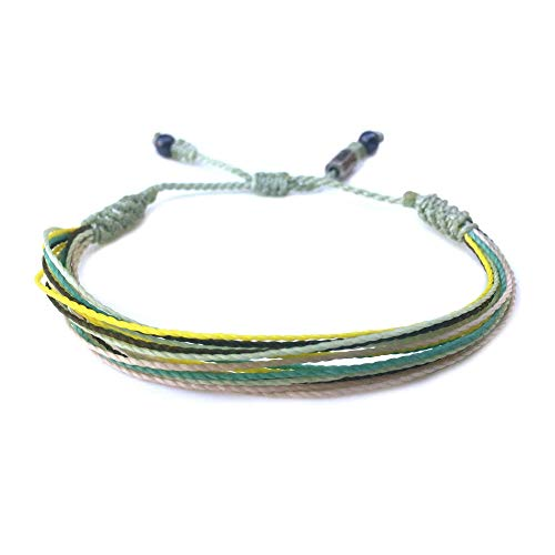 RUMI SUMAQ Mint Green Bracelet | Woven Thread Bracelet w Hematite Stones in Light Green Yellow Aqua Size Adjustable for Men and Women